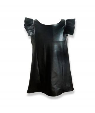 vestido efecto piel negro
