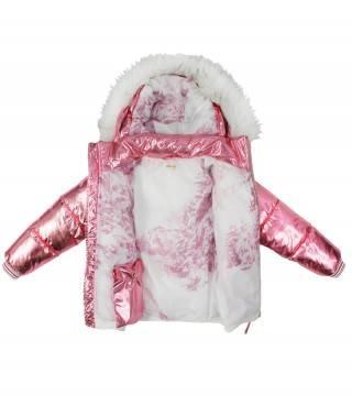 abrigo de plumas rosa