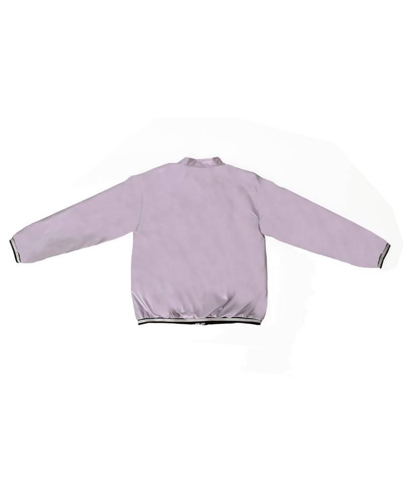 Prenda de moda infantil color lila en polipiel estilo Bomber