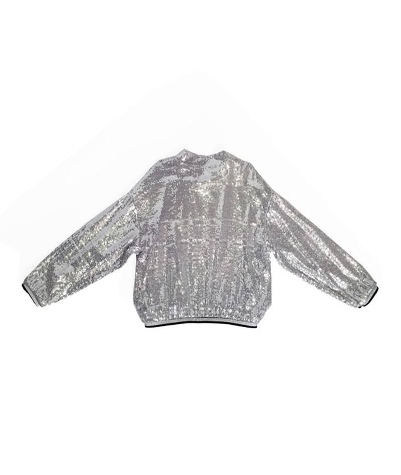 Moda Infantil chaqueta estilo bomber de lentejuelas color plata