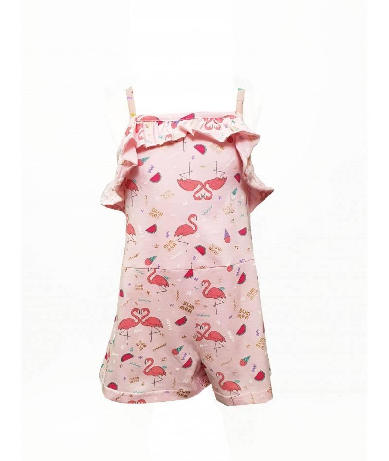 Mono estampado para niña. Mono corto estampado flamencos. Moda infantil.