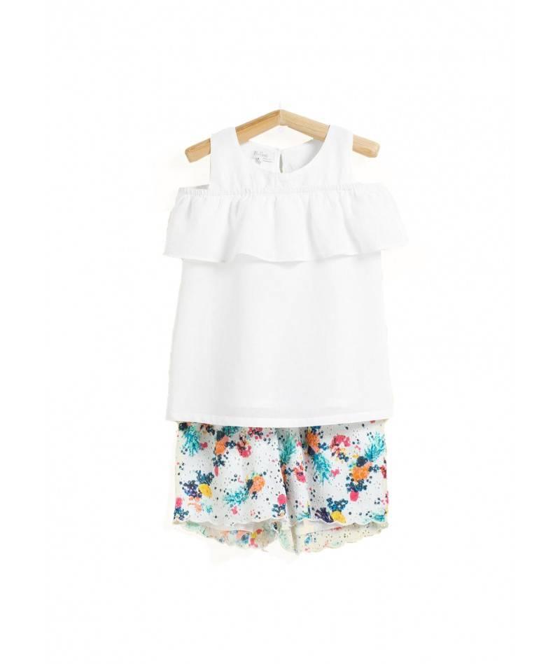 Conjunto de verano para niña. Short y blusa para niña. Moda infantil