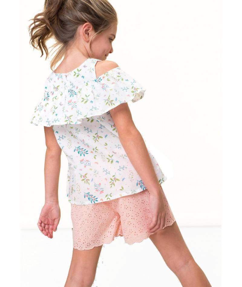 Conjunto de verano para niña. Conjunto blusa y short niña. Moda infantil