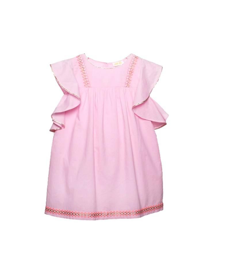 Vestido rosa flúor con volantes. vestido para niña. Moda infantil
