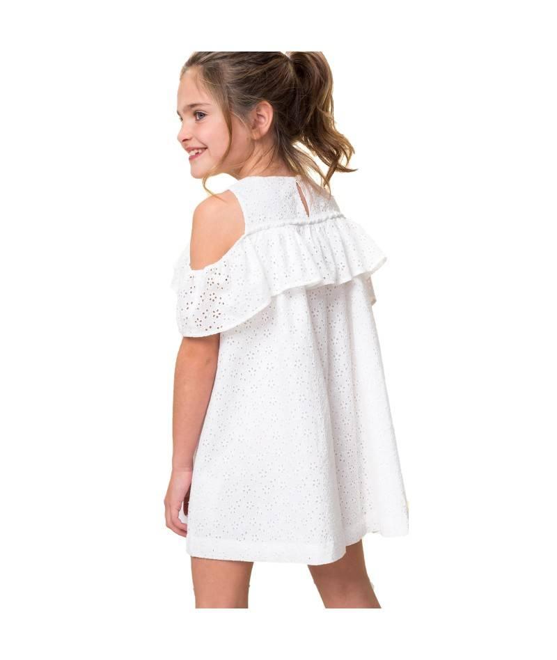 Vestido blanco para niña. vestido volante blanco. Moda infantil