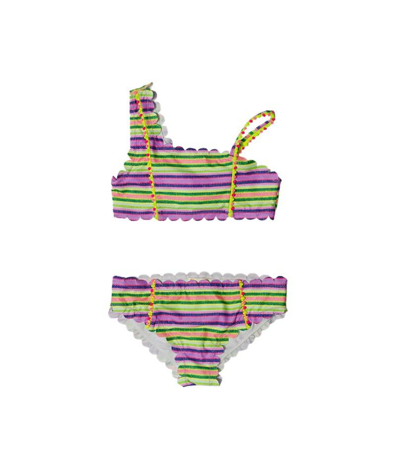 Bikini asimétrico multicolor para niña. Moda de baño. bañadores niña