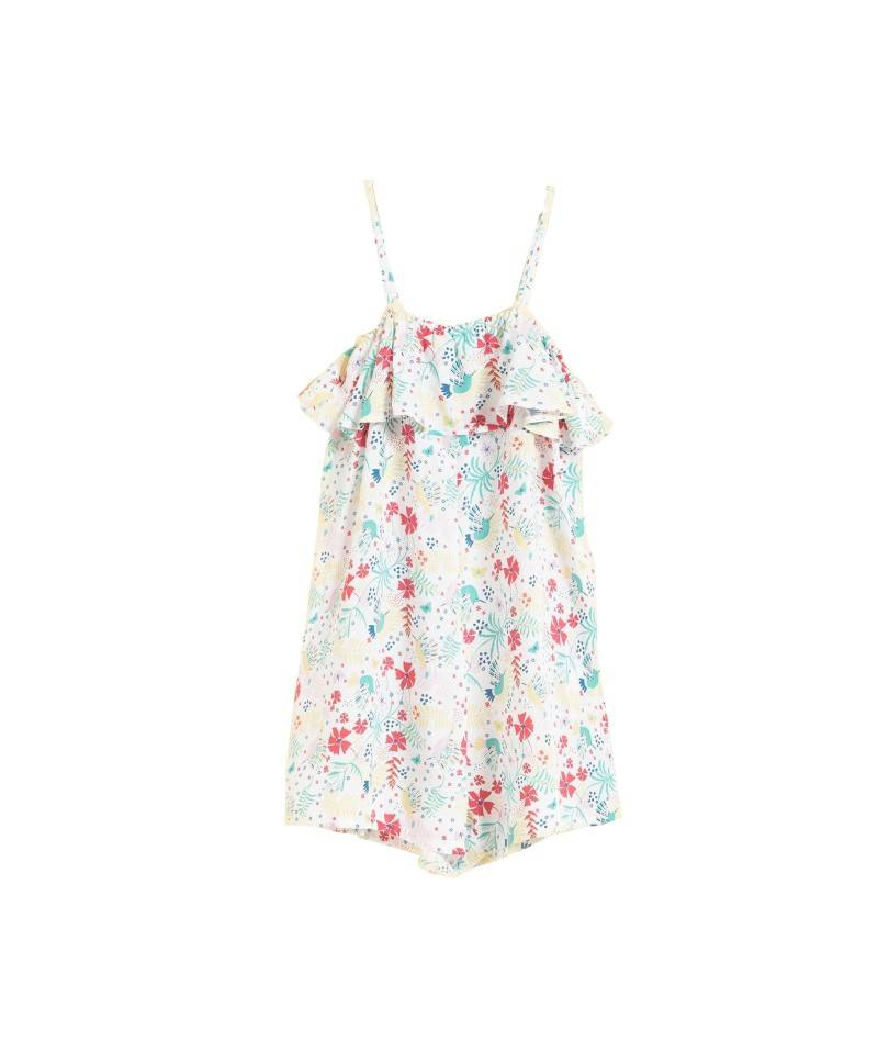Mono estampado flores. Mono corto para niña. Textil infantil. Moda infantil