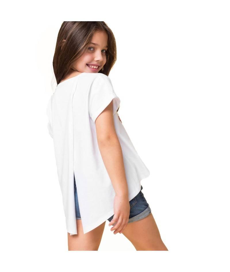 Camiseta blanca de niña. Camiseta lentejuelas