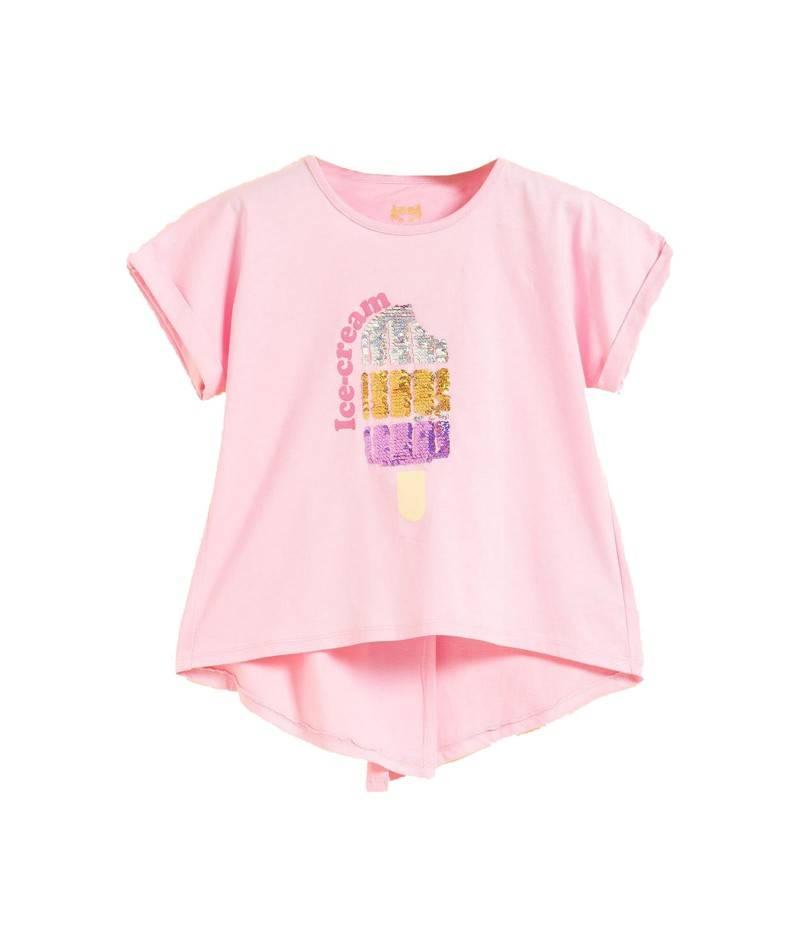 Camiseta lentejuelas reversibles helado. Camiseta rosa niña