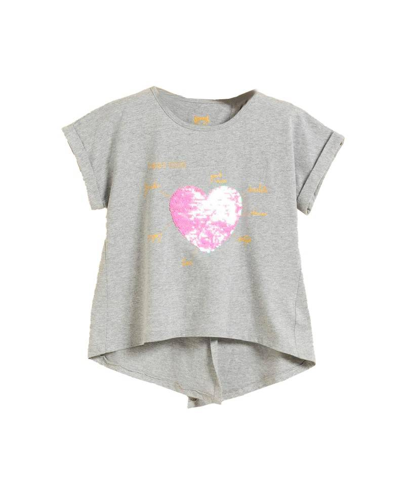 Camiseta gris para niña. Camiseta lentejuelas.
