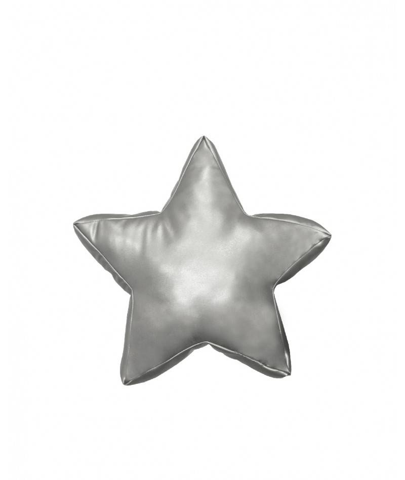Cojín estrella plateado